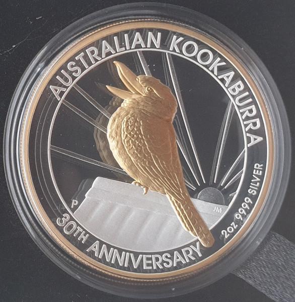 Australien 2 Oz Silber - 30 Jahre Kookaburra 2020 High Relief teilvergoldet