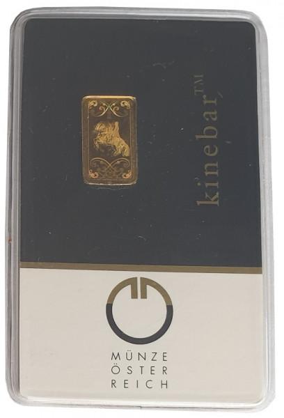 1 gr Goldbarren Kinebar Münze Österreich 999,9/1000 Feingold im Blister