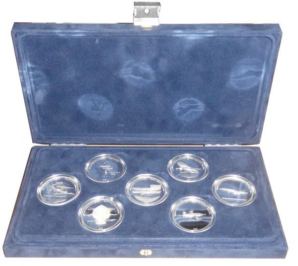 Liberia 7 x 10 Dollars Silbermünzen Satz Meilensteine der Luftfahrt 2003 Polierte Platte
