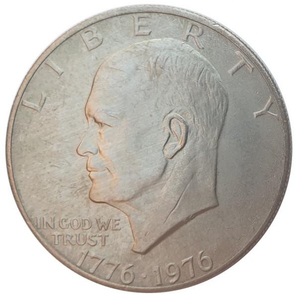 USA One Dollar Eisenhower Freiheitsglocke vor Mond 1976