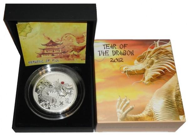Fiji 20 Dollars 2 Oz Silbermünze roter Drache ( Red Dragon ) 2012 Polierte Platte