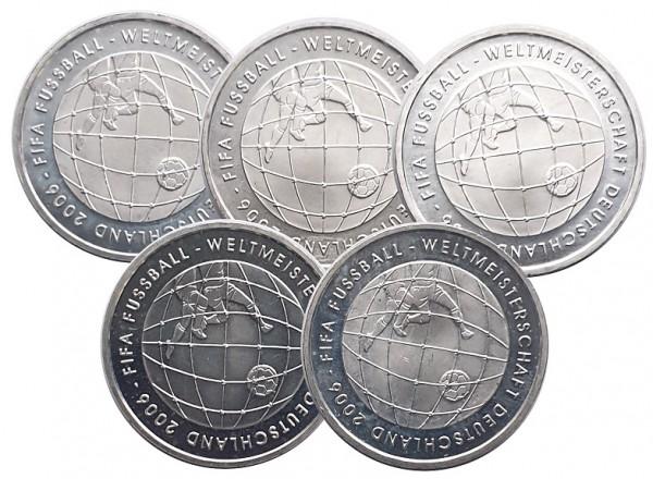 5 x 10 Euro Silber 2005 ADFGJ FIFA Fussball - Weltmeisterschaft 2006