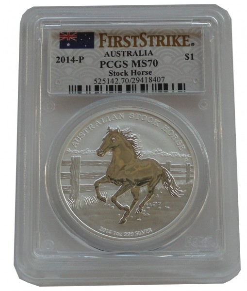 Australien 1 Oz Silber Stock Horse Pferd 2014 PCGS MS 70