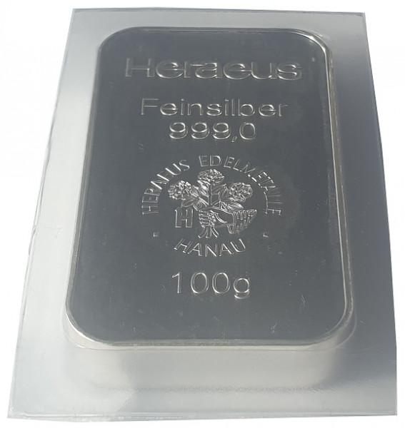 100 gr Silberbarren Heraeus Edelmetalle Hanau