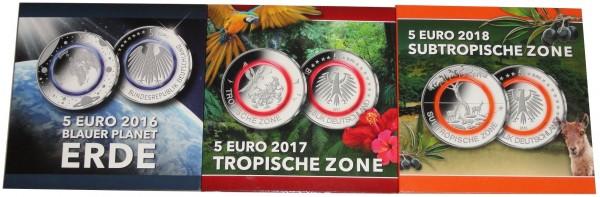 Sonderangebot ! 5 x 5 Euro Blauer Planet 2016, Tropische Zone 2017, Subtropische Zone 2018 STGL ADFG