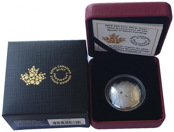 Silbermünze 50 Jahre Mondlandung 2019 - Kanada 25 Dollars Silber Polierte Platte
