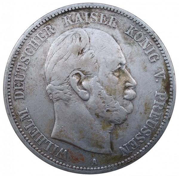 Deutsches Kaiserreich 5 Mark Silber Wilhelm König von Preussen 1875 A