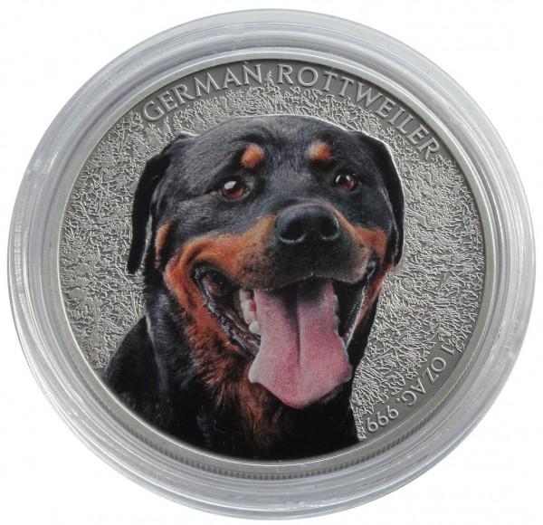 Niue 1 Oz Silber German Rottweiler 2015 Farbe mit Zertifikat