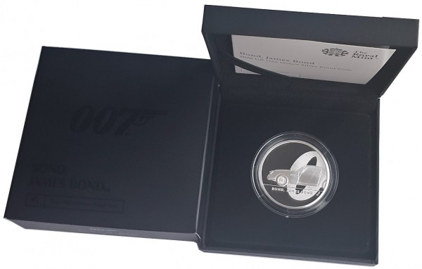 1 Oz Silber James Bond 007 Aston Martin DB5 - 2 Pounds Großbritannien