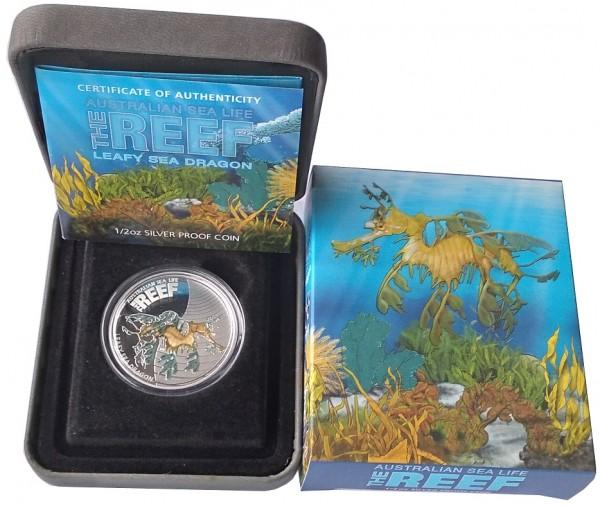 Australien 1/2 Oz Silber Leafy Sea Dragon 2009 Polierte Platte Sea Life Serie