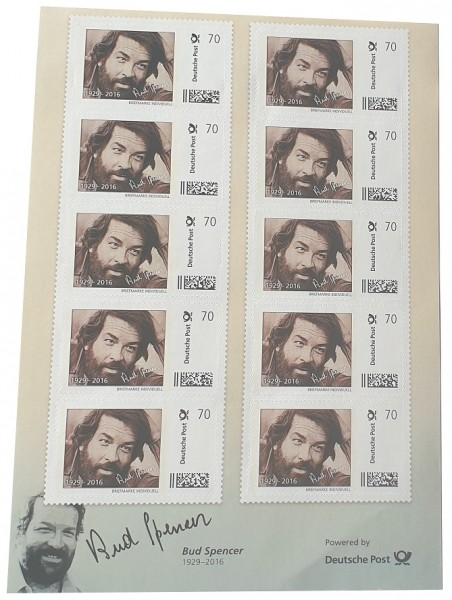Bud Spencer Briefmarken 10 x 70 Cent Briefmarkenbogen Limited Edition nur 10.000 Stück !