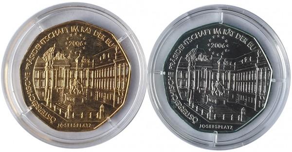 Österreich 2 x 5 Euro Silbermünzen Josefsplatz Rat in der EU 2006