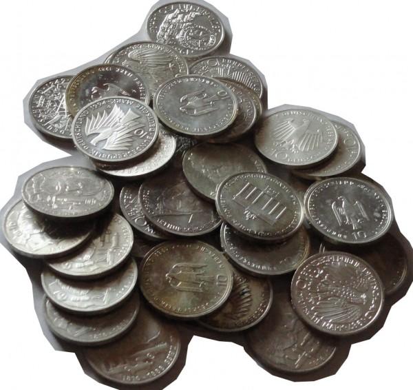 BRD: 10 DM Silber Gedenkmünzen 1987 - 1997