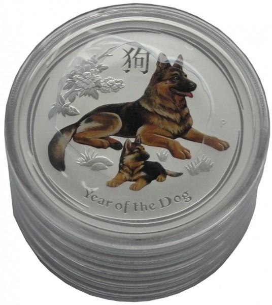 Australien 5 x 2 Oz Silber Lunar Hund II 2018 Farbe