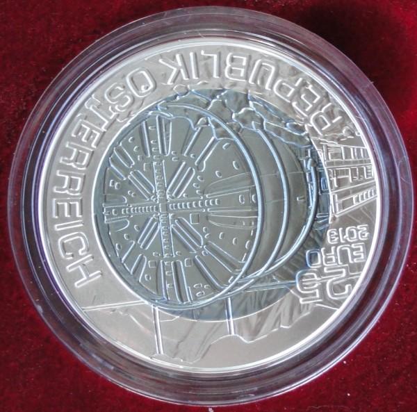 Österreich 25 Euro Silber Niob Münze Tunnelbau 2013 Handgehoben