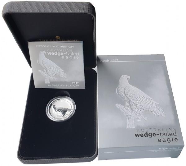 Australien 1 Oz Silber Wedge-Tailed Eagle (Keilschwanzadler) 2017 High Relief