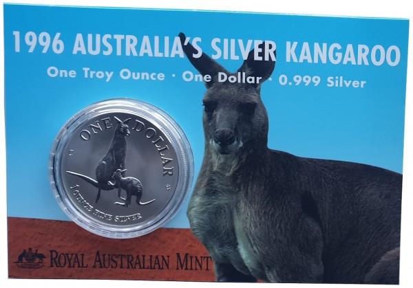 1 Oz Silber Känguru 1996 im Blister - Frosted Proof aus Australien