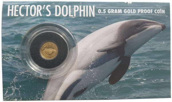 Neuseeland 0,5 gr Goldmünze Hector Dolphin - Delfin 2016 PP Blister