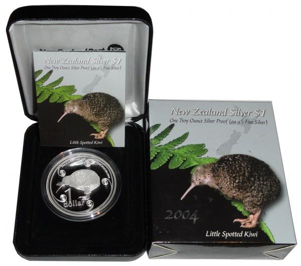 Neuseeland 1 Oz Silber Kiwi 2004 PP Etui