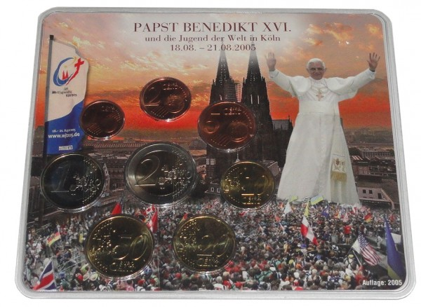 BRD: 3,88 Euro Kursmünzensatz Papst Benedikt 2005 Weltjugendtag in Köln