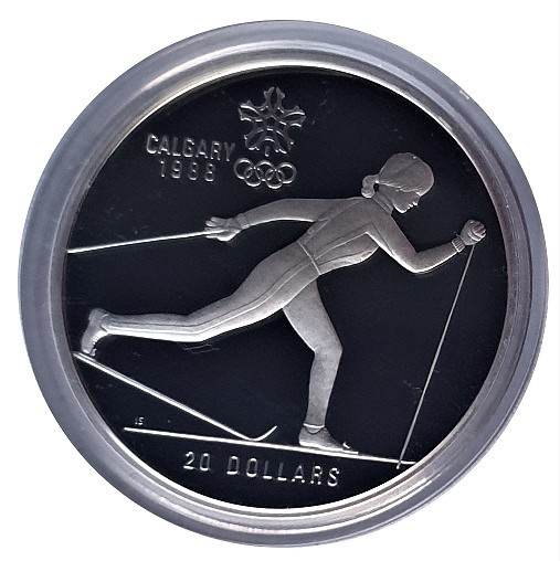 Canada 20 Dollars Silber Olympia Calgary 1988 Skilanglauf Polierte Platte