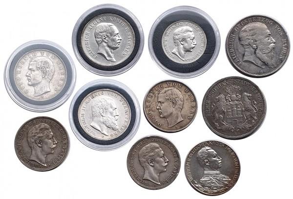 10 Stück Kaiserreich Silbermünzen 5 Mark, 3 Mark u. 2 Mark 900/1000 Silber
