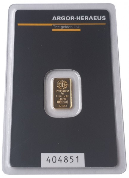 1 gr Goldbarren Argor Heraeus Schweiz 999,9/1000 Feingold im Blister