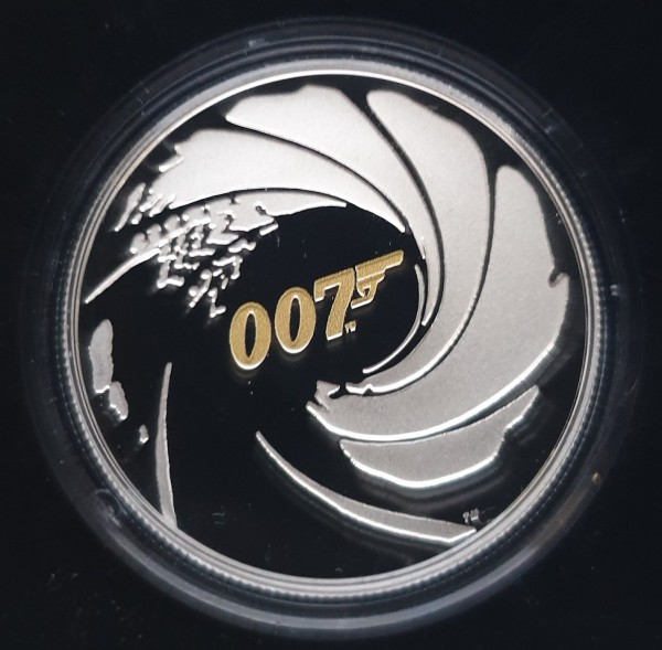 Tuvalu 1 Oz Silber James Bond 007 - High Relief 2020 Polierte Platte Teilvergoldet