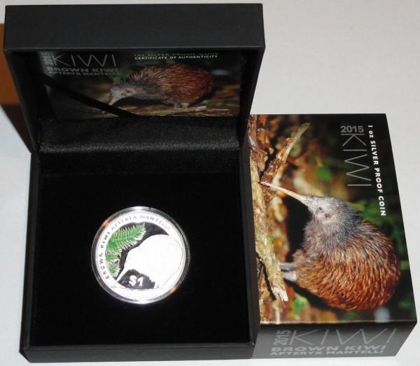 Neuseeland 1 Oz Silber Kiwi 2015 PP im Etui