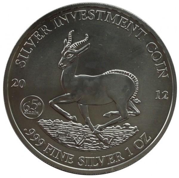 Gabun 1 Oz Silber Jubiläums - Ausgabe 65 Jahre Springbock 2012