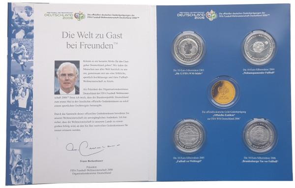 4 x 10 Euro Silber Gedenkmünzen zur Fifa - Fussball WM 2006 in Deutschland im Folder