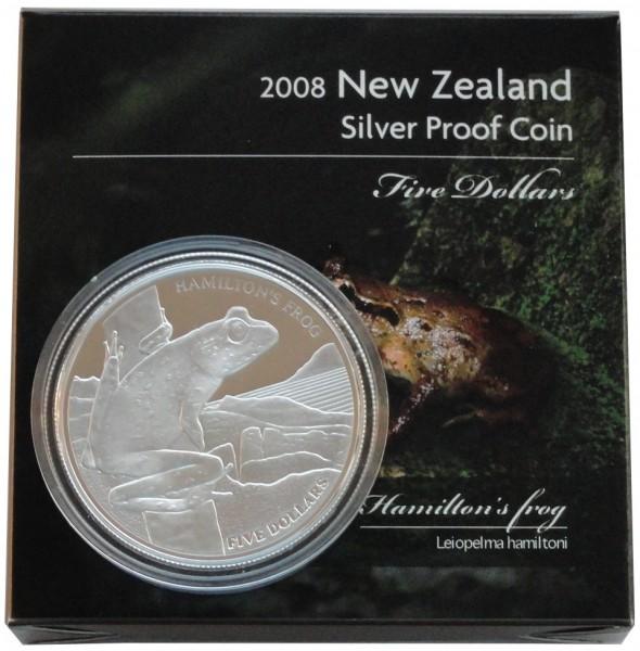 Sonderangebot ! Neuseeland Silbermünze Hamilton Frog 2008 Polierte Platte