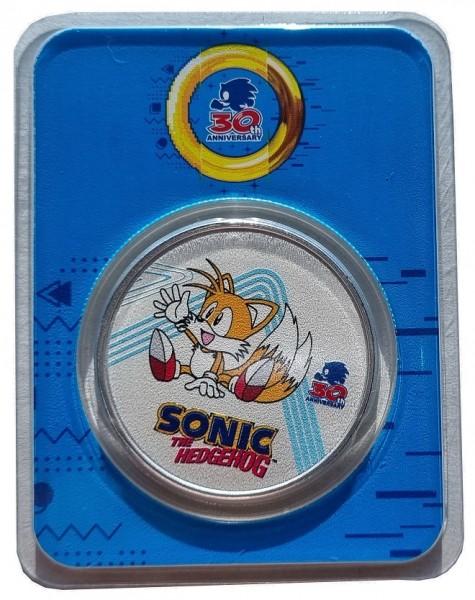 Niue 1 Oz Silber Sonic the Hedgehog Miles Tails 2021 Farbe Color im Slap nur 3.700 Stück!