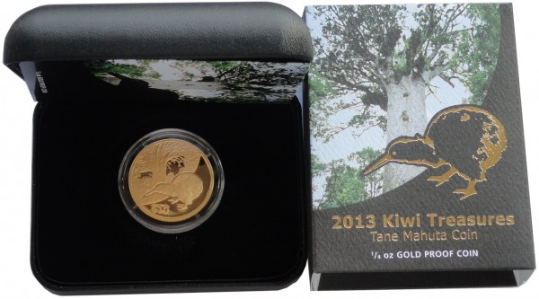 Neuseeland 10 Dollars 1/4 Oz Gold Kiwi 2013 Polierte Platte