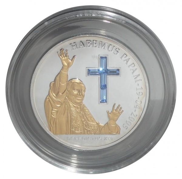 Andorra 10 Diners Silbermünze Papst Benedikt XVI 2005 mit Swarovski - Komponenten