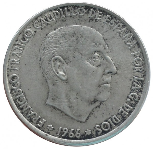 Spanien 100 Pesetas Silbermünze Francisco Franco 1966 Spanien