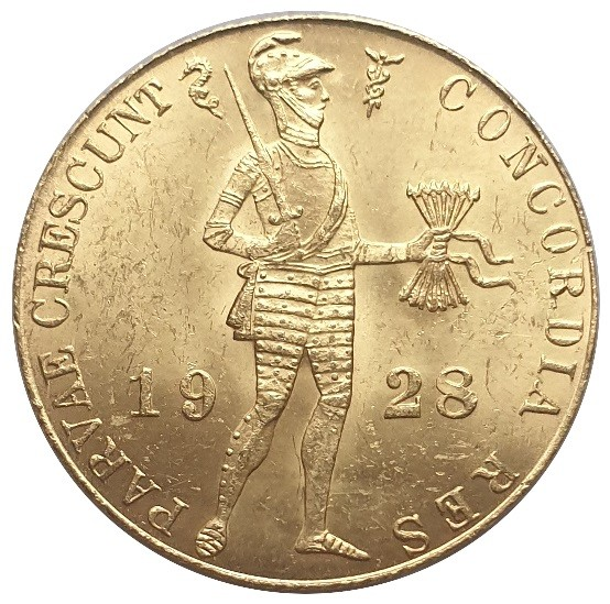 1 Dukat - Goldmünze Niederlande 1928 Golddukat Handelsdukat - Utrecht