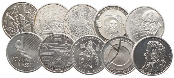 10 x 10 Euro Silber Gedenkmünzen Deutschland ( 2002 - 2010 ) - 18 gr 925/1000 Silber