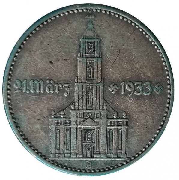 Deutsches Reich 2 Reichsmark Silber Garnisonkirche mit Datum 1933 A Kratzer