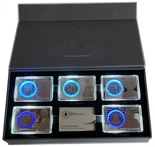 BRD: 5 x 20 Euro Silbermünzen 2016 ADFGJ in Münzbarren 925er Silber mit LED - Leuchtetui
