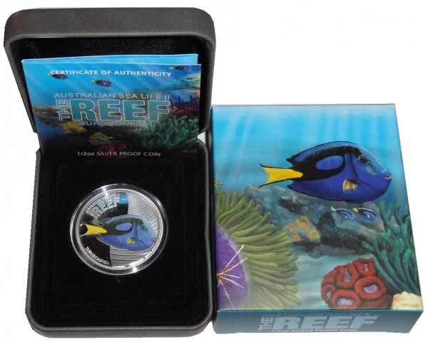 Australien 1/2 Oz Silber Sea Life Serie II Doktorfisch (Surgeon Fish) 2012 PP