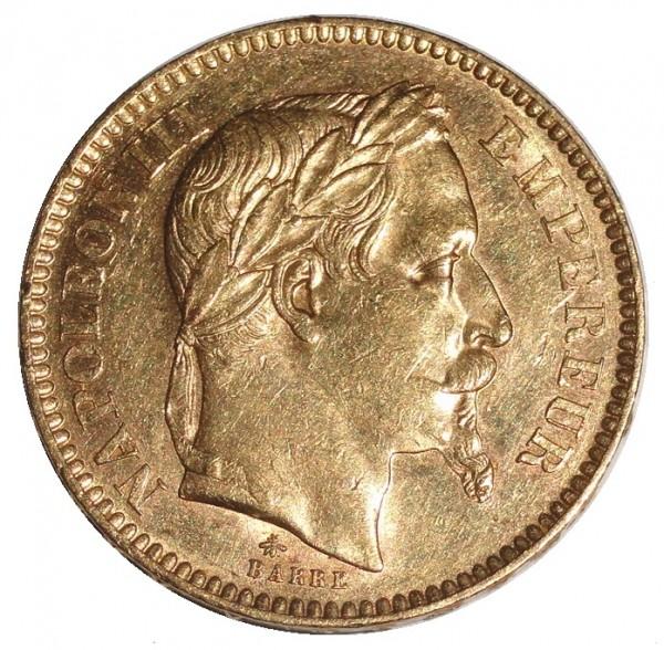 Frankreich 20 Francs Goldmünze Napoleon mit Kranz