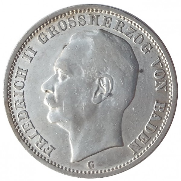 Deutsches Kaiserreich 3 Mark Silber Friedrich II Großherzog von Baden 1911 G