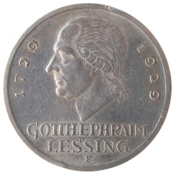 Deutsches Reich 3 Reichsmark Silber Gotthold Ephraim Lessing 1929 F