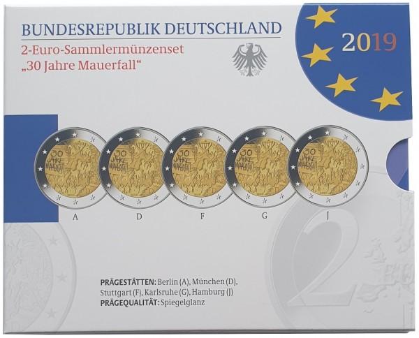 5 x 2 Euro Mauerfall 2019 ADFGJ Spiegelglanz (PP) im Blister aus Deutschland