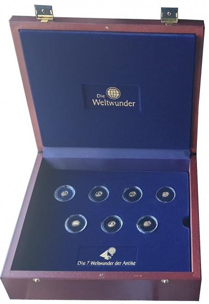 Niger 7 x 0,5 gr Goldmünzen - Die 7 Weltwunder der Antike Polierte Platte in edler Box