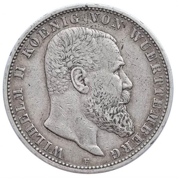 Deutsches Kaiserreich 5 Mark Silber Wilhelm II König von Württemberg 1904 F