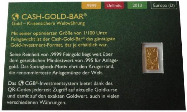Goldbarren Cash-Gold-Bar 1/100 Oz Gold Springbock 2013 im Blister