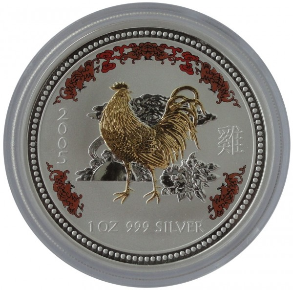 Australien 1 Oz Silber Lunar I Serie Hahn 2005 Color Farbe - Gilded vergoldet