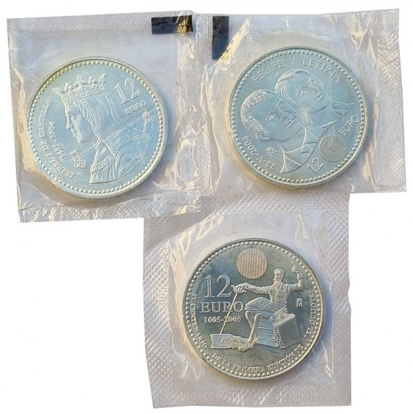 Spanien 3 x 12 Euro Silbermünzen in Folie verschweist